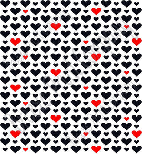 White With Black And Red Heart Craft Patterned Vinyl Sheet Htv