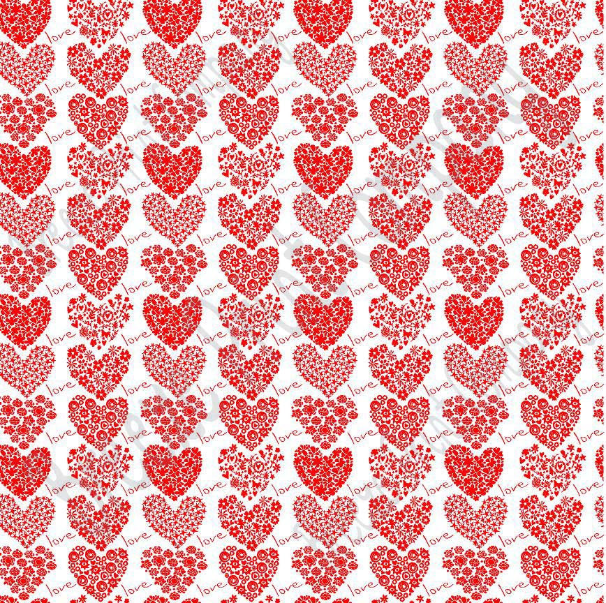 White with red floral heart craft  vinyl sheet - HTV -  Adhesive Vinyl -  Valentine's Day HTV3902