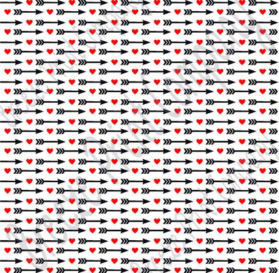 White with red heart and black arrow pattern craft  vinyl sheet - HTV -  Adhesive Vinyl -  Valentine's Day HTV3701