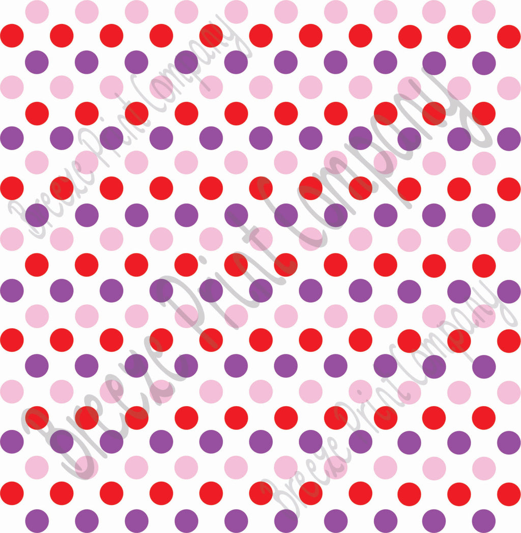 Red, pink and purple dot pattern craft  vinyl - HTV -  Adhesive Vinyl -  medium polka dots Valentine's day colors HTV1631