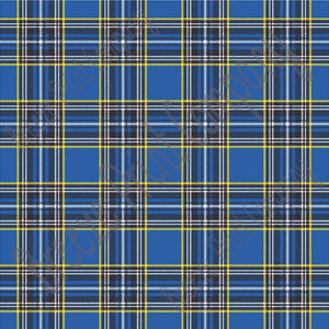 Blue tartan plaid craft  vinyl sheet - HTV -  Adhesive Vinyl -  with yellow, black and white HTV1805 - Breeze Crafts