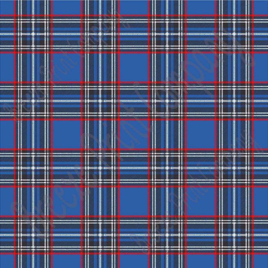 Blue tartan plaid craft  vinyl sheet - HTV -  Adhesive Vinyl -  with red, black and white HTV1802 - Breeze Crafts
