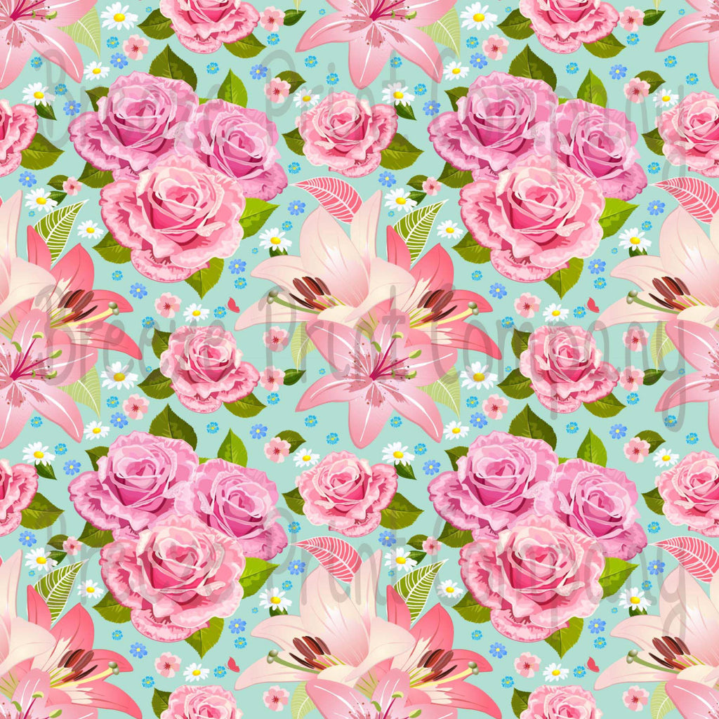 Floral mint craft  vinyl sheet - HTV -  Adhesive Vinyl -  large flower pattern vinyl rose and lily HTV2201 - Breeze Crafts