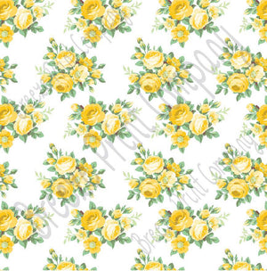 Yellow rose floral craft  vinyl sheet - HTV -  Adhesive Vinyl -  with white background flower pattern vinyl  HTV2222