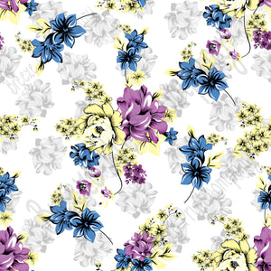 Blue, purple, yellow and gray floral craft  vinyl sheet - HTV -  Adhesive Vinyl -  flower pattern vinyl  HTV2210 - Breeze Crafts