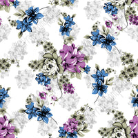 Blue, purple and gray floral craft  vinyl sheet - HTV -  Adhesive Vinyl -  flower pattern vinyl  HTV2209 - Breeze Crafts