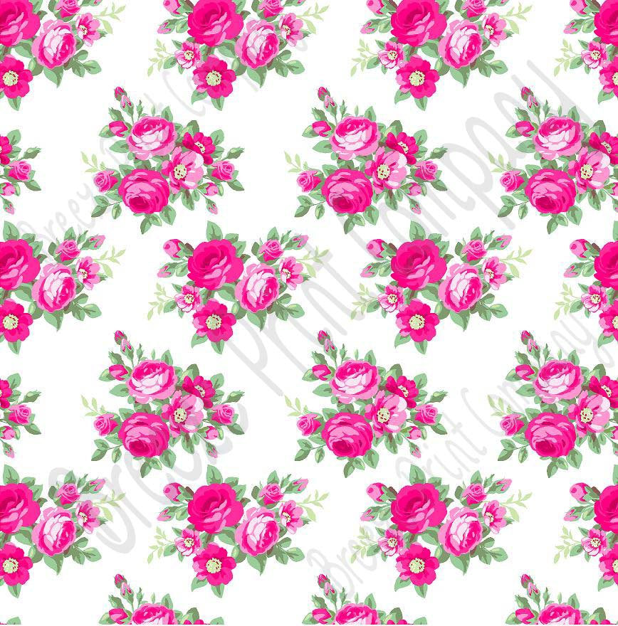 Pink rose floral craft  vinyl sheet - HTV -  Adhesive Vinyl -  with white background flower pattern vinyl  HTV2218