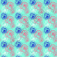 Coral, aqua, navy and white floral craft  vinyl sheet - HTV -  Adhesive Vinyl -  flower pattern vinyl  HTV2213 - Breeze Crafts