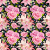 Floral black craft  vinyl sheet - HTV -  Adhesive Vinyl -  large flower pattern vinyl rose and lily HTV2202 - Breeze Crafts