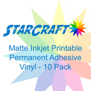 StarCraft Inkjet Printable Matte Permanent Adhesive Vinyl 10-Pack 8.5x11 inch sheets