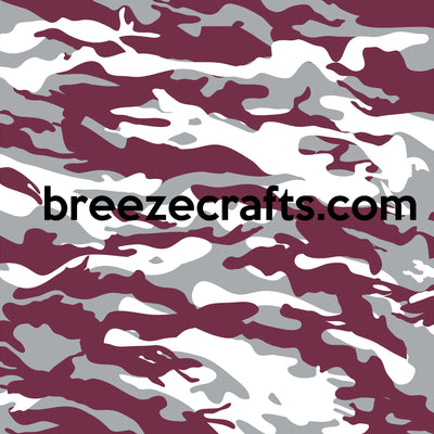 Maroon, white, and gray Camouflage craft  vinyl - HTV -  Adhesive Vinyl -  camo army pattern HTV1054