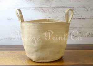 NATURAL BURLAP  BASKET  (6.5X6.5X6 inch)