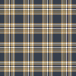 Dark navy and light gold tartan plaid craft patterned vinyl sheets, Heat Transfer/HTV or Adhesive Vinyl,  HTV1863 - Breeze Crafts