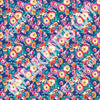 Navy blue with pink, yellow, red, white and orange hand drawn flower patterned vinyl sheets