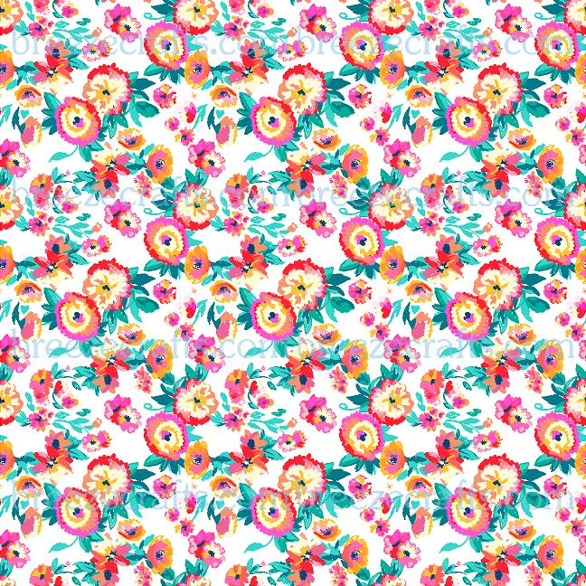 Craft vinyl sheets, patterned vinyl sheet, flower pattern - HTV or Adhesive Vinyl - inspired floral pattern vinyl, white background HTV2273 - Breeze Crafts