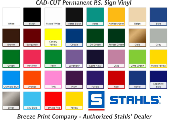 Stahls cad-cut ps sign vinyl color chart, solid adhesive vinyl, sheet, roll, breeze print company, breezecrafts.com