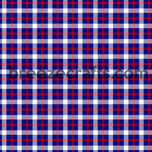 Red, white and blue square plaid pattern craft vinyl sheets in heat transfer vinyl or adhesive vinyl, fourth of july patterned vinyl