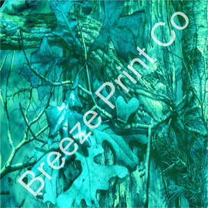 Teal real tree camo patterned craft vinyl sheets in heat transfer vinyl HTV or adhesive vinyl, forest camo, hunting camo