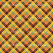 Brown, orange, yellow and green plaid craft vinyl sheet - HTV -  Adhesive Vinyl -  Thanksgiving fall autumn pattern HTV1870 - Breeze Crafts