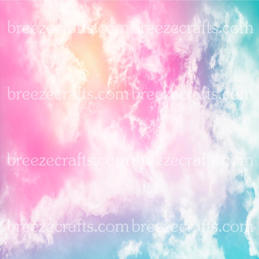 pastel sunset patterned vinyl sheets, clouds, pink, yellow, aqua, blue, white, purple