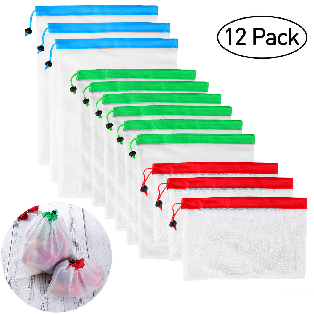 BESTOMZ 12pcs Reusable Mesh Produce Bags Washable Eco Friendly Bags for Grocery Shopping Storage Fruit  Vegetable Toys Three Large 12x17in  Six Medium 12x14in and Three Small 12x8in - The Harmony Box