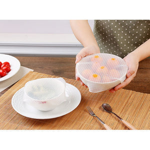 4pcs Silicone Food Wraps Food Fresh Keeping Saran Wrap Kitchen Tools Reusable Seal Cover  (including S*1+M*2+L*1) - The Harmony Box