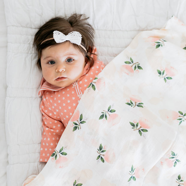 Baby Girl Clothes: pink roses blanket laying on baby