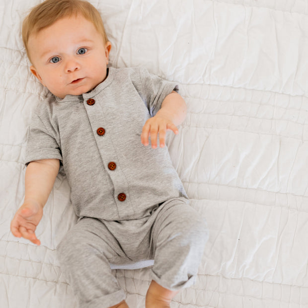 Baby Girl Clothes: baby boy in grey romper