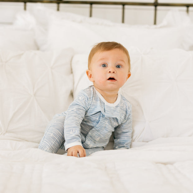 Baby Girl Clothes: baby boy sitting up in pajamas