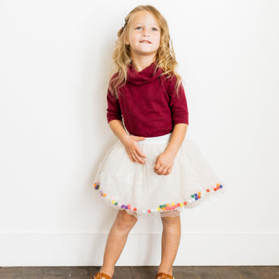 Baby Girl Clothes: white glitter skirt and red top