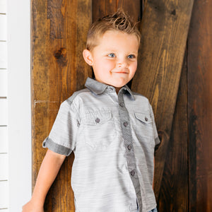 Baby Girl Clothes: model wearing grey shirt