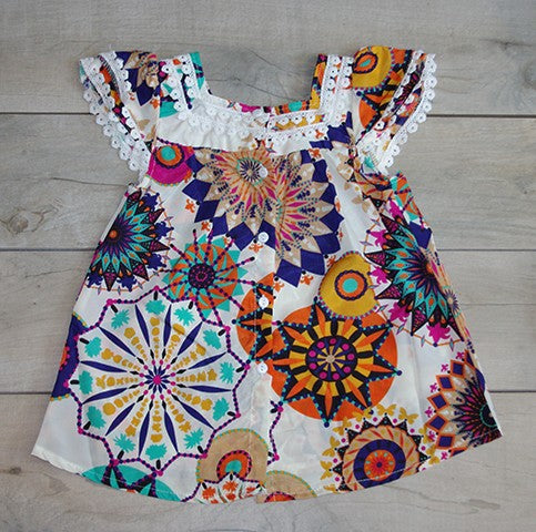 Full Back View of Scalloped Flower Dress: Baby Girl Clothes