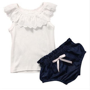 White Lace Shirt with Bloomers: Baby Girl Clothes