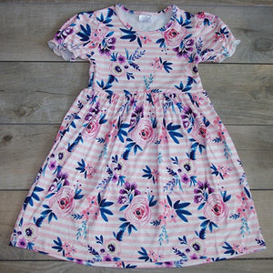 Flower Dress with Striped Background: Baby Girl Clothes