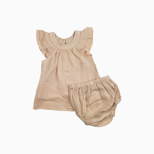 Baby Girl Clothes: blush ruffle with bloomers