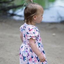 Girl avoids the camera in flower striped dress: Baby Girl Clothes