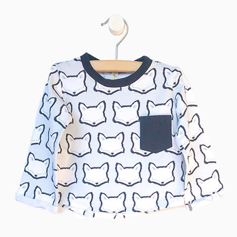 Baby Girl Clothes: fox shirt in blue and white