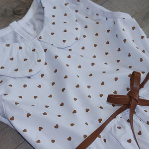 Baby Girl Clothes: Bronze Heart Dress with Belt