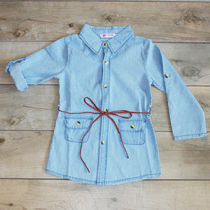 Denim Dress with Belt: Baby Girl Clothes