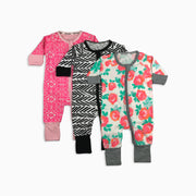 Baby Girl Clothes: three zipper pajamas