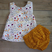 Mustard Bloomers with Floral Top: Baby Girl Clothes