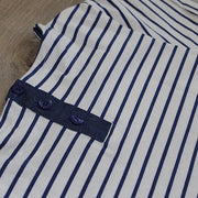 Close up of Blue Striped Dress: Baby Girl Clothes