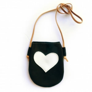 Black Leather Purse with Heart: Online Deals Websites