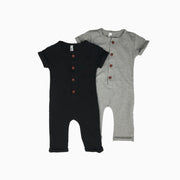Baby Girl Clothes: full view of both button rompers