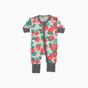 Baby Girl Clothes: pink roses and green leaves