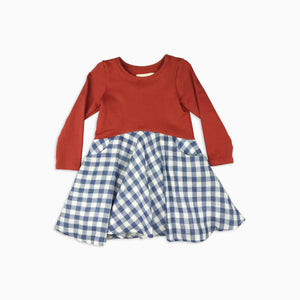 Baby Girl Clothes: rust and plaid dress