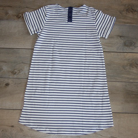 Backside of blue striped dress: Baby Girl Clothes