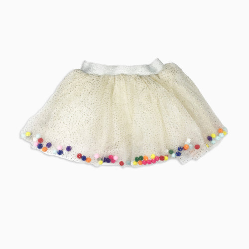 Baby Girl Clothes: pom pom shirt flat lay
