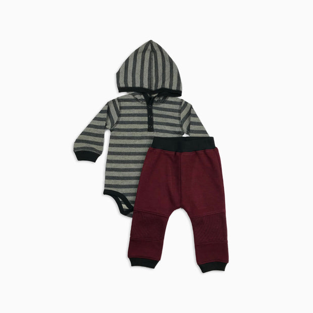 Baby Girl Clothes: grey and black with red pants