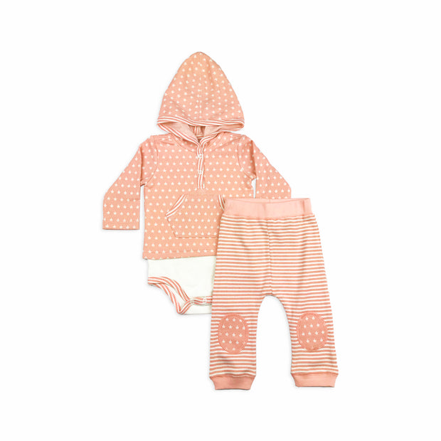 Baby Girl Clothes: pink onesie and striped pants